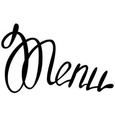 Lettering menu vector image vector image