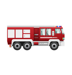 transport isolated red fire truck on six wheels vector image