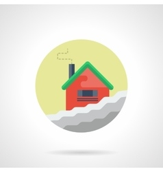Winter house round flat color icon vector