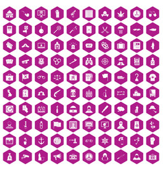100 crime investigation icons hexagon violet vector