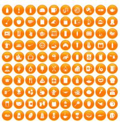 100 kitchen icons set orange vector