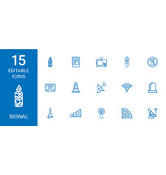 15 signal icons vector image