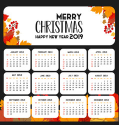2019 calendar template christmas and happy new vector