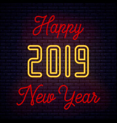 2019 happy new year neon vector image