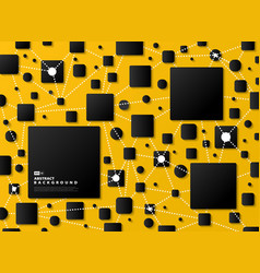 abstract gradient black geometric on yellow tech vector image