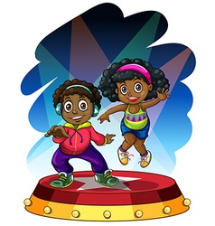 African american boy and girl dancing vector image