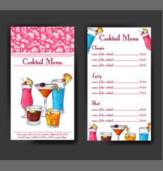 alcohol drinks menu bar brochure template for vector image