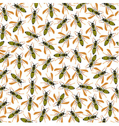Background pattern with wasps vector