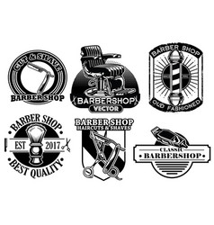 Barbershop badge design set vector