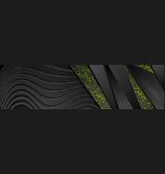 black abstract corporate wavy banner with green vector image