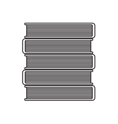 black and white icon stacked books vector image