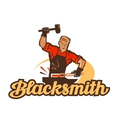 blacksmith logo anvil or smithy icon vector image