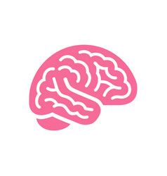 brain pink color side view icon intellect symbol vector image
