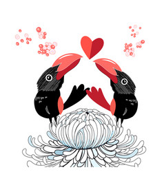 bright funny love birds with a heart vector image