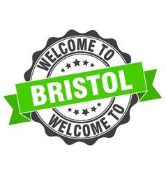 bristol round ribbon seal vector image