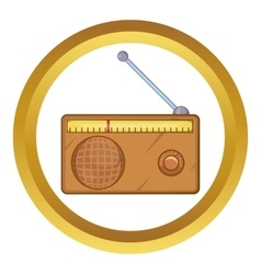 Brown retro style radio receiver icon vector
