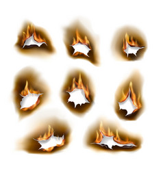 burnt paper holes realistic burn fire vector image