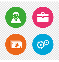businessman signs human and cash money icons vector image vector image