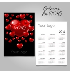 Calendar 2016 with red hearts vector