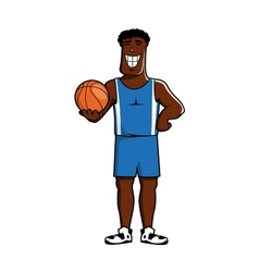Cartoon dark basketball player with ball vector