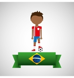 Cartoon football player brazilian label vector