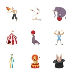 Circus chapiteau icons set cartoon style vector image