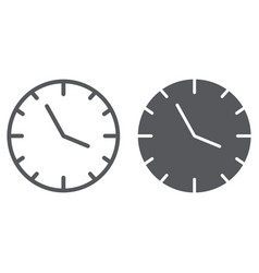 clock line and glyph icon time and hour watch vector image