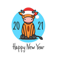 cny logo ox in santa claus hat 2021 vector image