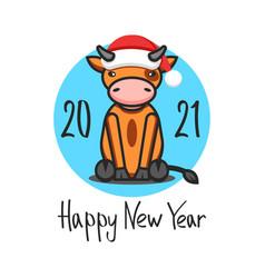 Cny logo ox in santa claus hat 2021 vector