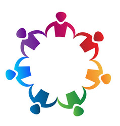 Colorful people partnership teamwork logo vector