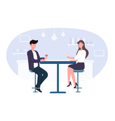 couple at table talking and drinking cocktails vector image