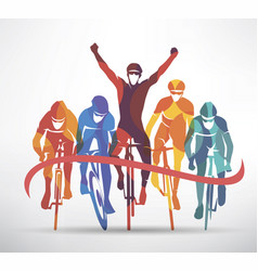 Cycling race stylized background cyclist vector