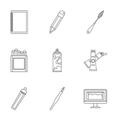 designer workspace icons set outline style vector image