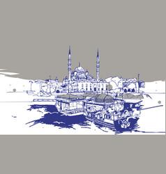 drawing sketch eminonu istanbul vector image