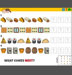 Educational pattern game for kids with food and vector