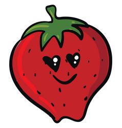 Emoji romantic strawberry smiling or color vector