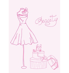 Fashion dress doodles vector