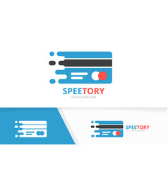 Fast credit card logo combination speed vector
