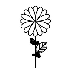 Figure flower with petals and leaf icon vector