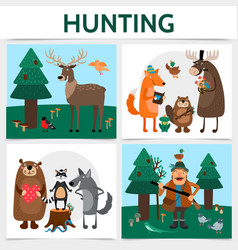 flat colorful hunting square concept vector image