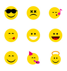 Flat icon expression set angel grin happy and vector