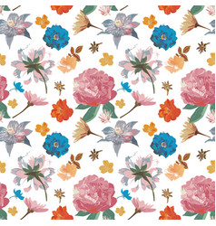 Flowers seamless pattern hand drawn for print vector