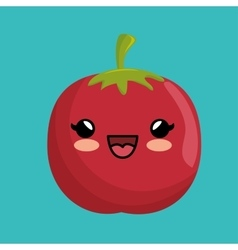 Fresh cute kawaii tomato vegetable vector
