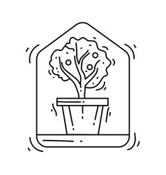 gardening indoor icon hand drawn icon outline vector image