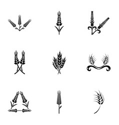 gluten icons set simple style vector image