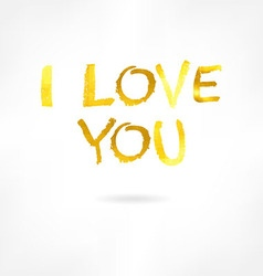 Golden inscription i love you vector image