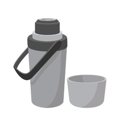 Grey thermos cartoon icon vector