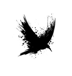 grunge raven silhouette vector image