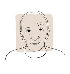 Hand-draw outline portrait old man vector