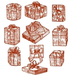 hand drawn gift set vector image